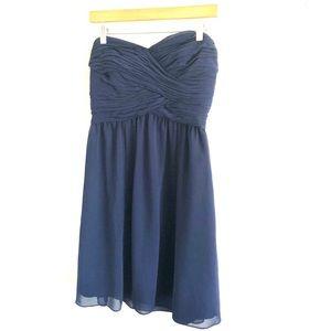 Lauren Ralph Lauren Navy Chiffon Strapless Dress